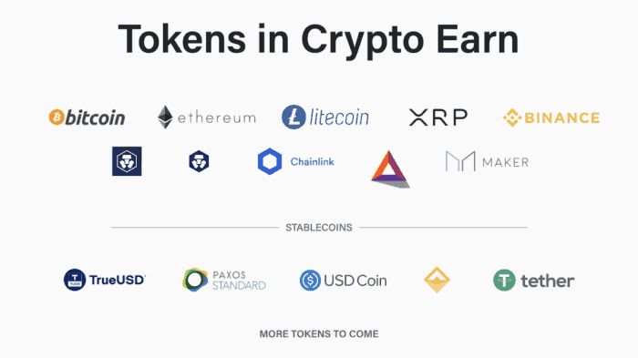 Tokens in Crypto-Earn